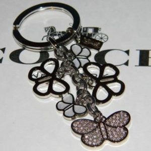 Coach RARE Butterfly Keychain Crystal Enamel NEW